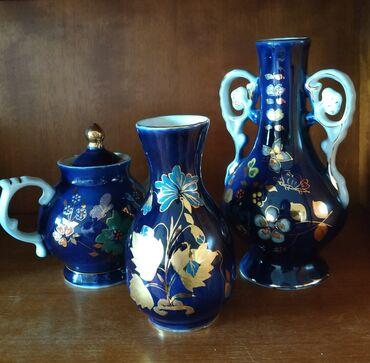 Вазы - Кыргызстан: НАБОР из 3-х предметов продается. Отличный подарок.Фарфор. Кобальт