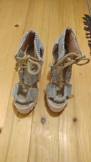 Ženske Sandale i Japanke - Bor: Zenske kozne svecane cipele br.36 sa belom platformom i stiklom