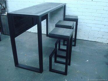 Nameštaj - Borca: Barski sto i dve stolice u industriskom stilu koje karakterišu visoko