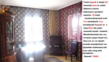 Bakı şəhərində Tecili kupcali 2 otaqli full remontlu bina ev satilir.
