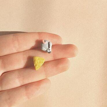 Гвоздики - Кыргызстан: Креативные сережки гвоздики в виде мышки и сыра♡ •180сом•  #полимерна