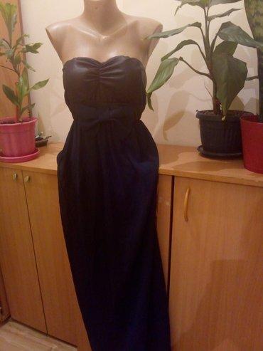 Duga leprsava haljina - Kraljevo: Nova haljina elegantna,duga. Teget i maslinasto zelena. Gornji deo