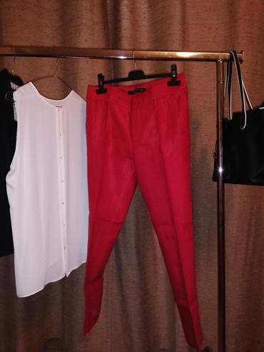 Pantalone pamuk polyester - Srbija: Crvene zara pantalone lan pamuk