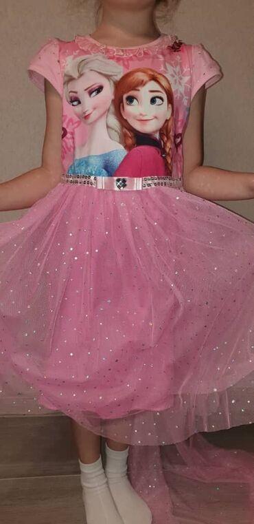 хб платье в Кыргызстан: Прокат платье Эльзы в розовом цвете, подклад хб, 4-7 лет