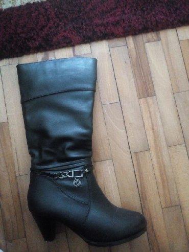 Ženska obuća | Bela Crkva: Crne cizme na malu stiklu, jednom nosene, br. 37