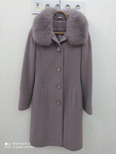 пальто лама в Кыргызстан: Пальто кашерим, воротник лама, съёмный. Размер 48. Состояние очень