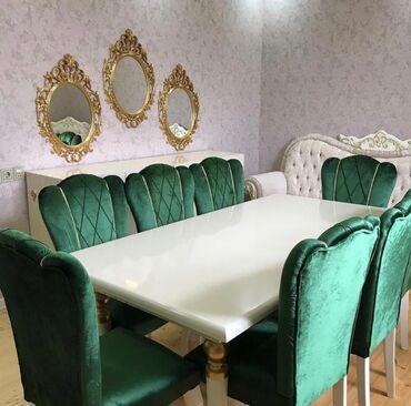 Destler yenidir Acilmayan masa(olcu 90/2 metr) masa ve 8 stul