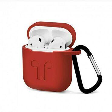 Чехол для наушников Apple AirPods (айрподс) с карабином.В разных