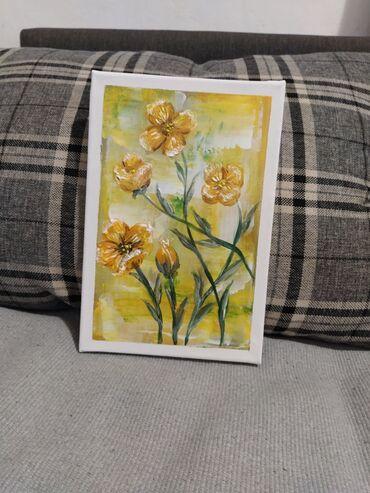 AKRIL NA PLATNU - Rajsko cveće 20x30