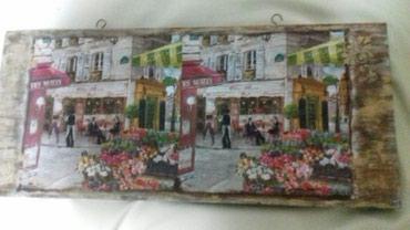 Slike | Crvenka: Slika na univer podlozi.Dimenzije 40x18 cm.Dekupaz.Motiv.Pariski