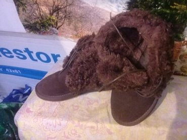 Угги замшевые,с мехом, коричневые.. р. 37-38, женские в Бишкек