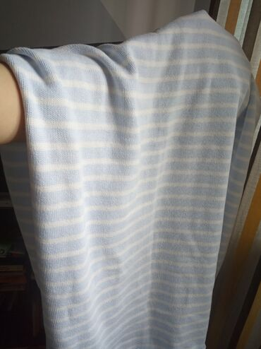 Детский плед. Голубой в белую полоску. Х/б. Летний, лёгкий. 75*100 см