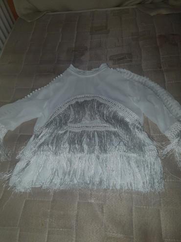 Prelepa bela bluzica sa resicama,nova,univerzalna velicina - Smederevo