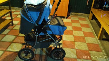 детская коляска с большими колесами в Кыргызстан: Продаю теплую детскую коляску со съёмным креслом( люлькой). С большими