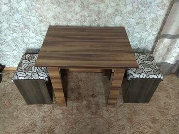 стол стулья для зала in Кыргызстан   СТОЛЫ: Продаю новый кухонный стол с удобными мягкими стульчиками, для