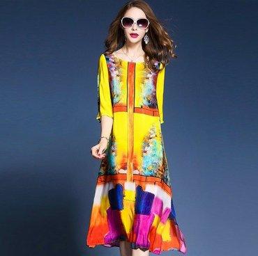 туника из турции в Кыргызстан: Летнее платье-туника из шёлка яркой расцветки. Размер свободный. Рукав