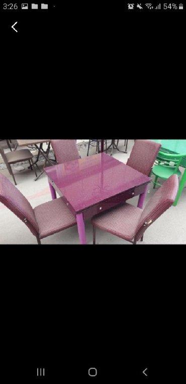 стол цвет венге в Азербайджан: Комплект стол и стулья малиновый цвет с доставкой в адрес.Из любых