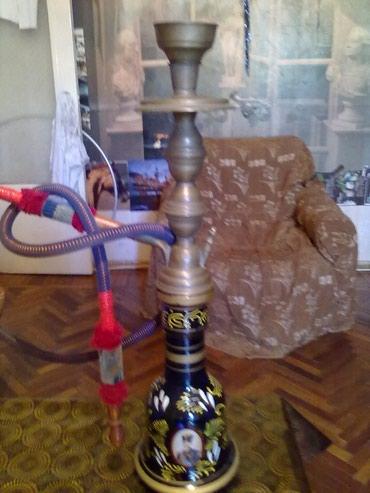 """табак для кальяна в Азербайджан: Египетский кальян """"ТOP"""" синий, 56см. Латунная шахта,деревянный"""