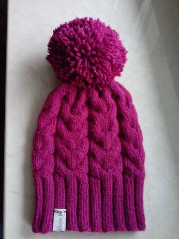 Детская шапочка связана вручную- бордовая удлинненая - ОГ = 52-54 в Бишкек