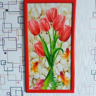 Тюльпаны 5Д. Декор стены, помещения, офиса. Подарок. Размер: 29х53 см