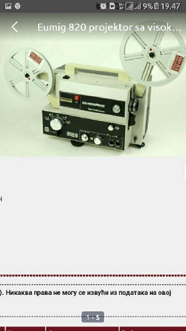 Eumig projektor bez sociva
