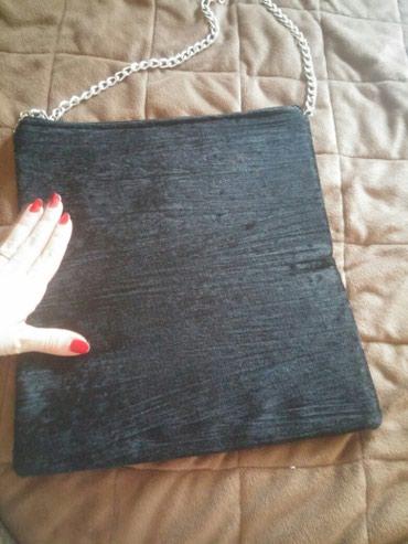 Snižena 500 din.Crna pismo torba sa 2 lica. Rucni rad. Jedna strana - Nis