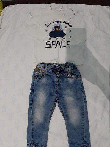 Majica dugih rukava tanka i farmerke 9-12 meseci