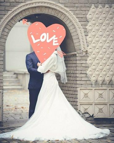 Шикарное свадебное платье со шлейфом в Бишкек
