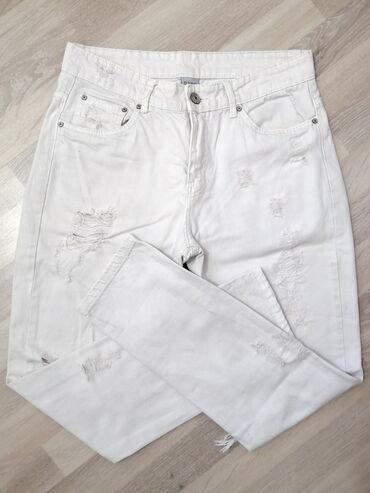 Bele sa farmerice - Srbija: Cepkane mom fit farmerice - vel. 30!Beli mom džins, sa dosta sitnijih