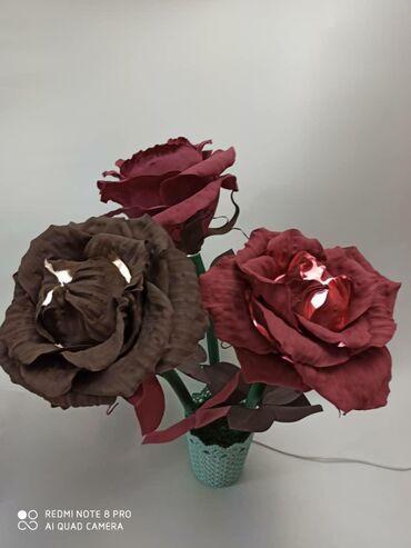 букеты ручной работы в Кыргызстан: Светильник-букет из розы горшке. Ручная работа из фомиарана. Необычный