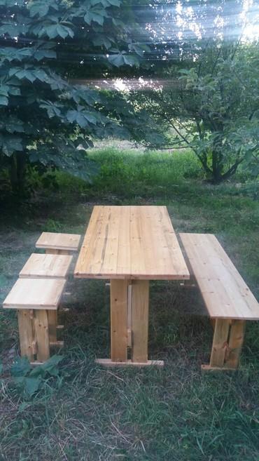 Стол скамейка и три стула. размер стола 1.5×80 выс 80. Мы делаем на за