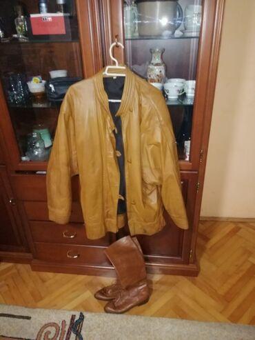 Prodajem koznu jaknu iz Egipta vel M i kozne cizme br. 37 (kozni djon)