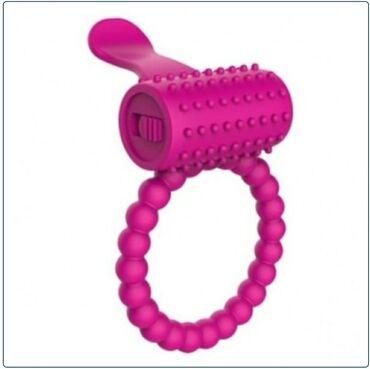 Секс игрушка Эрекционное кольцо с язычком розового цветаЭрекционное