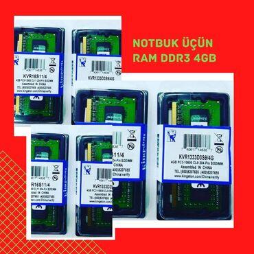 Notbuk üçün ddr3 4gb orginal Kingston ramları12800(1600) və