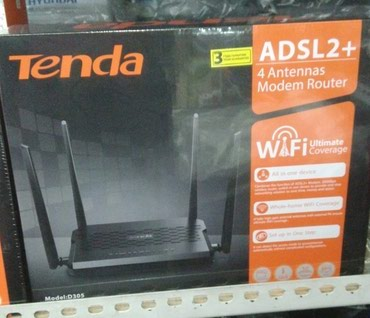 Роутер TENDA D305 ADSL2+ N300. Новый. 4 антенны. в Бишкек