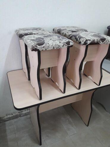 стол с табуретками in Кыргызстан   ДРУГИЕ ТОВАРЫ ДЛЯ ДОМА: Стол с табуретки на кухню новый 4000сомов