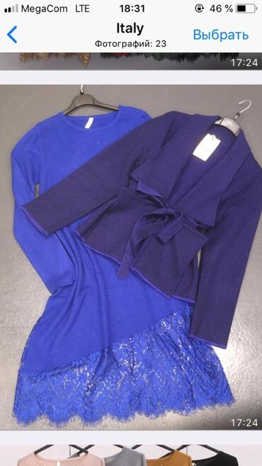 вязаное платье свободного кроя в Кыргызстан: Италия новое синее туника/платье вязаное, размер свободный M/L/XL На