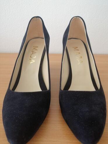 Ženska obuća | Gornji Milanovac: Teget cipele 39 broj, dužina gazišta 25,5 cm, visina potpetice 7cm