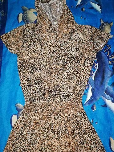 леопардовое платье в пол в Кыргызстан: Платье в пол, с капюшоном с карманами, лёгкое, на рост 168-170 размер