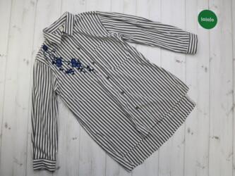 Женская рубашка в полоску с вышивкой Stella Morgan, р. S Длина: 68/75