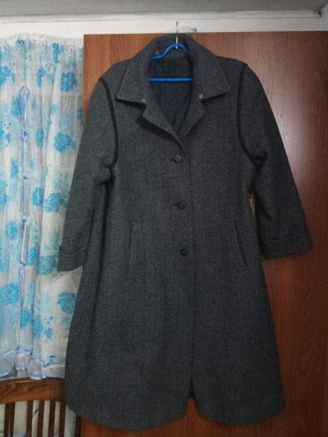 Женское пальто, 52 размер, темно-синее, утеплённое