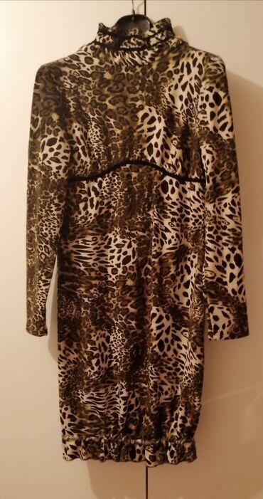 Zimska Animal print haljina,Nova.Fsntastican model,65 %vuna 35
