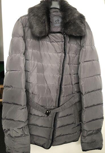 Bez torbica - Srbija: DEHA zimska jakna, XL, sive boje koja se presijava na svetlu sto joj