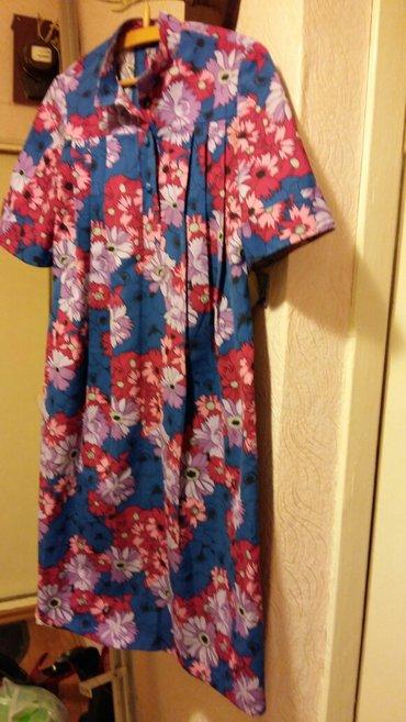 Женское платье свободное со складками. размер 48. цена 300 сом. в Бишкек