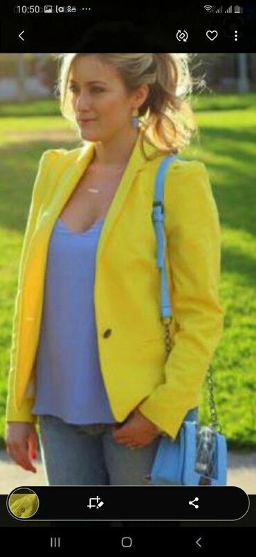 вязанный жакет в Кыргызстан: Жакет ярко желтый с,м размер в отл состоянии 400 сом без торга