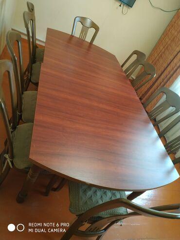 Стол с 10 стулями Материал ДВП+ орех, раздельный стол