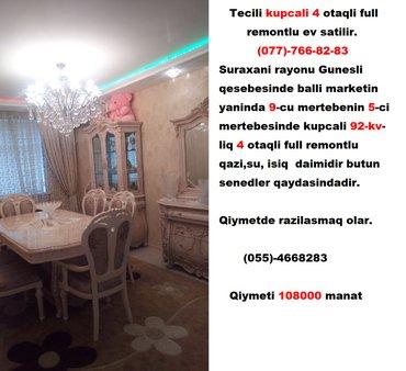 Bakı şəhərində Tecili kupcali 4 otaqli full remontlu ev