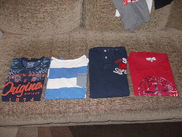 Men's T-shirts - Srbija: Majice za tinejdzere,majica teget/narandzasta je CA/158/164/duzina