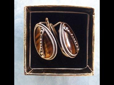 Украшения в Каракол: Колечки серебро. Камень тигровый глаз