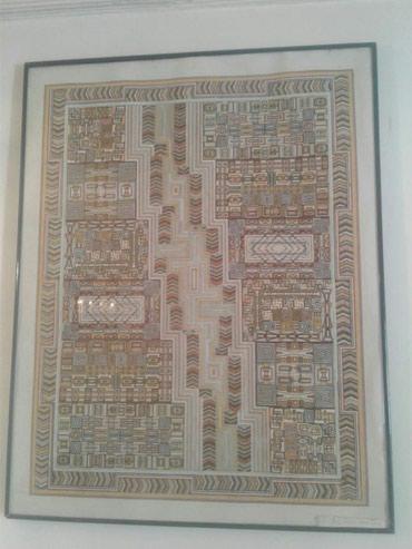 Sumqayıt şəhərində Kaqiz uzerinde chekilmish shekiller, shushe ramkada ( rengli qrafika ;